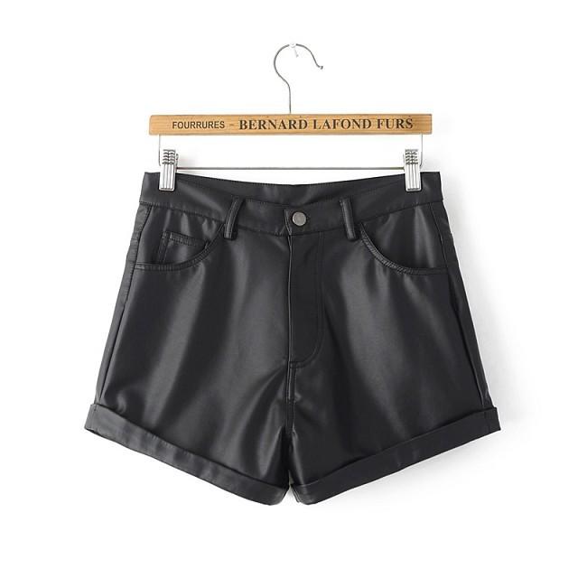 2016 outono inverno mulheres Shorts Shorts de couro preto curto calça moda feminina temperamento fino Bootcut senhoras Shorts AI079