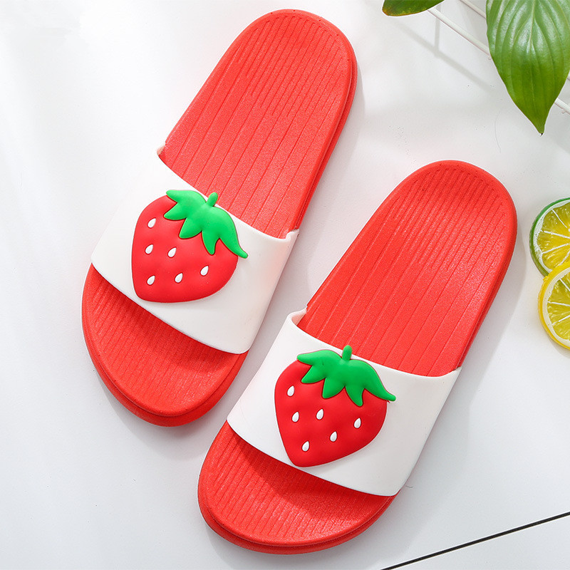 6bfd0226d13a0 2018 Summer Fashion Fruit Flats Girl Strawberry Slipper Shoes Women  Pineapple Beach Bathroom Slides Lady Hot Sale Mules Female