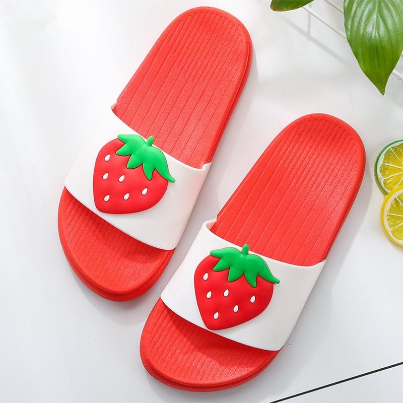 2018 Sommer Mode Obst Wohnungen Mädchen Erdbeere Slipper Schuhe Frauen Ananas Strand Bad Rutschen Dame Heißer Verkauf Maultiere Weibliche