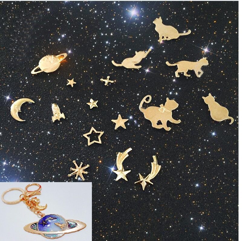 Universe planet rocket cat and Smiling face moon metal material epoxy mold makeing  jewelry filling for DIY jewelry Ямча
