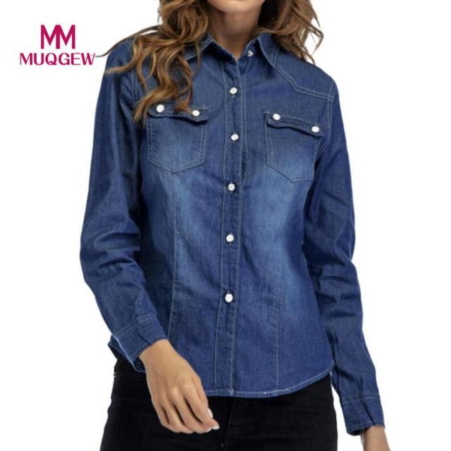 6b0157fd8949f Fashion Women Denim Blouse Shirt Cowboy Style Turn-Down Neck Long Sleeve  Womens Shirts Casual Office Work Blouse Tops Clothes