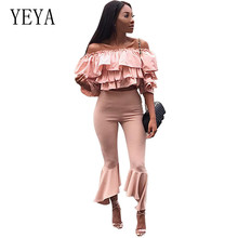 YEYA Princess Wind Ruffled Tube Top Extension Leg Nine Pants Elegant Two Pieces Sets Off Shoulder Strapless Women Sexy Jumpsuits
