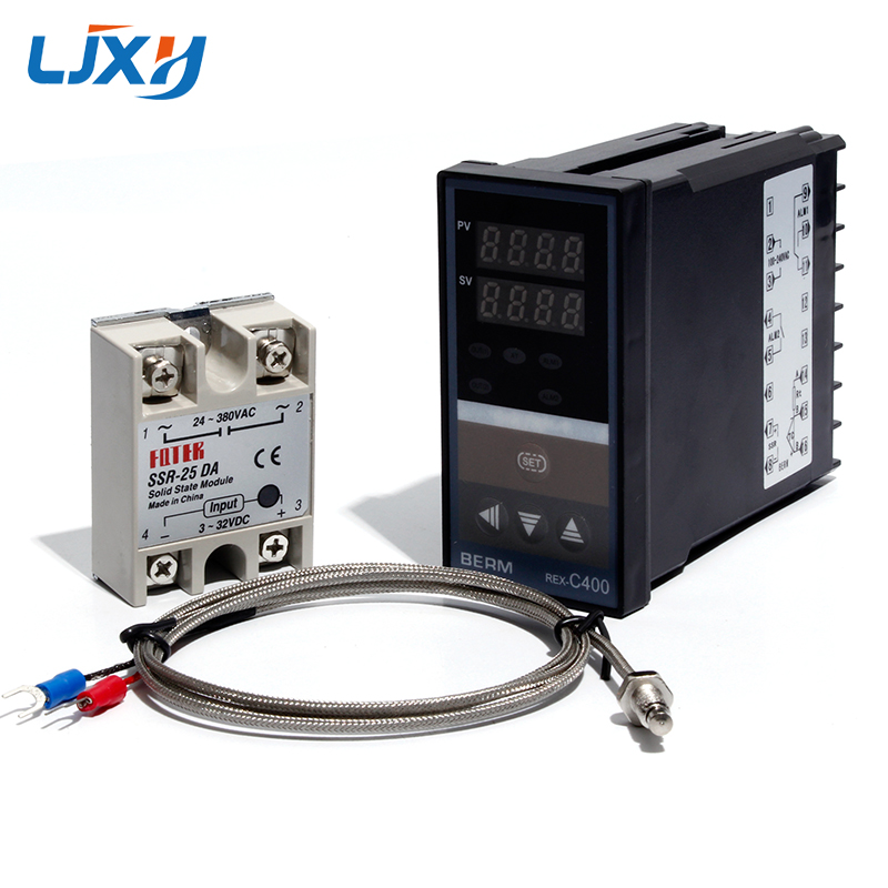 LJXH Dual Digital PID Temperature Controller Set REX-C400 + 25DA/40DA/75DA Solid State Relay + 1m M6 Thread K Thermocouple