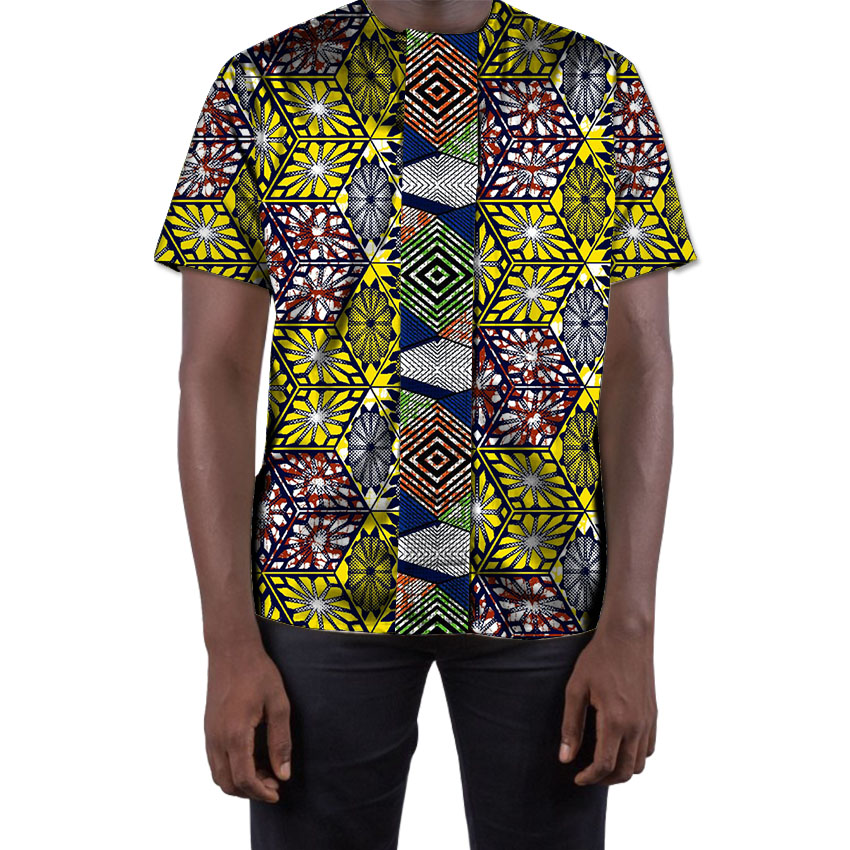 Fashion Men African Print Tops Summer Dashiki Clothes Print And Printed Short Sleeve Man T-shirt African Men Clothing Customized