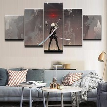 Modern HD Printed Painting Canvas Home Decorative Bedroom 5 Panel NieR Automata Landscape Poster Frame Modular Wall Picture