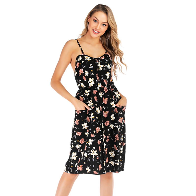 2019 New Women Fashion Floral Print Dress Sexy Strap Backless Dress Summer Casual Sleeveless Dress vestidos de verano in Dresses from Women 39 s Clothing