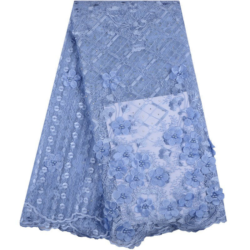 2019 Latest French African Lace Fabric High Quality Beads African Embroidered Tulle 3D Lace Fabric for