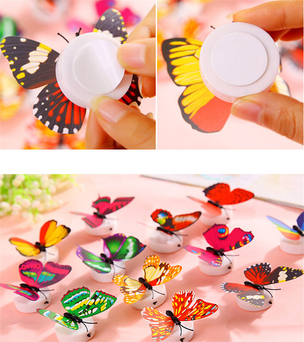 Image 4 - 10 Pcs Wall Stickers Butterfly LED Lights Wall Stickers 3D House Decoration Room Decor vinilos decorativos para paredes New-in Wall Stickers from Home & Garden