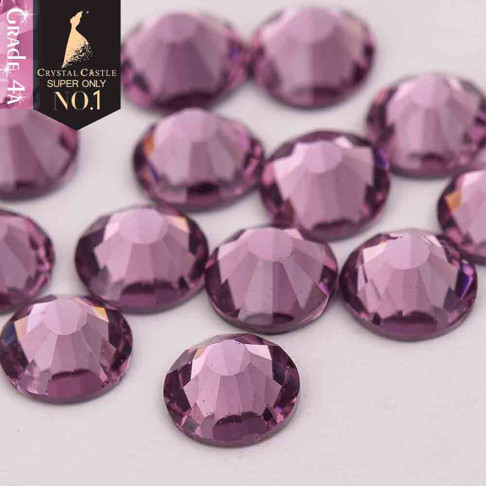 Crystal Castle 4A glass flatback rhinestone Lt Amethyst non hot fix crystal  none glue no hotfix strass rhinestones for nail A e107f55660f9