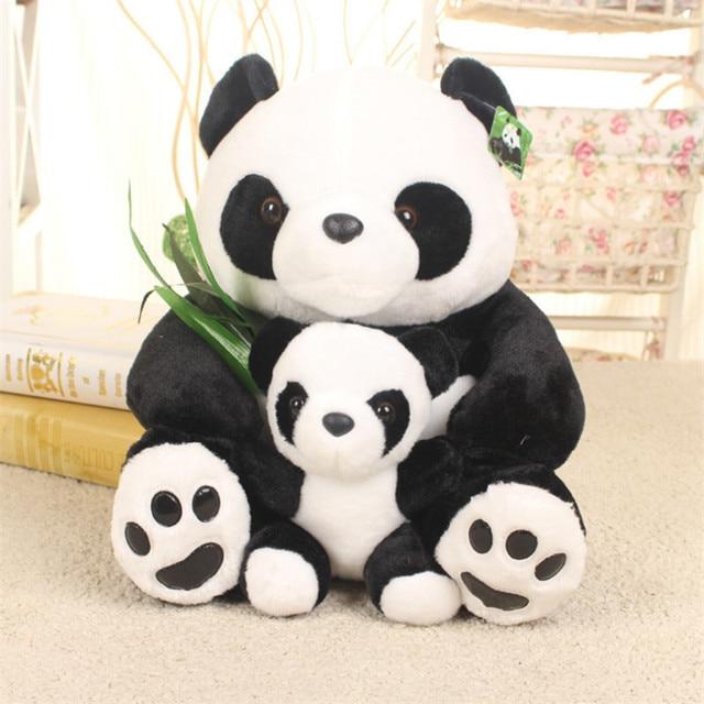 Kawaii Panda Bear Parent-Child Bear Stuffed Animals Plush Toys Hug Bamboo Leaf Teddy Bear Panda Birthday Toy Simulation Panda