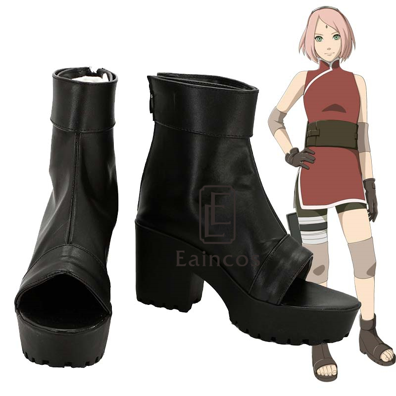 Anime NARUTO Haruno Sakura Cosplay Shoes Black Peep Toe Boots Customized Size