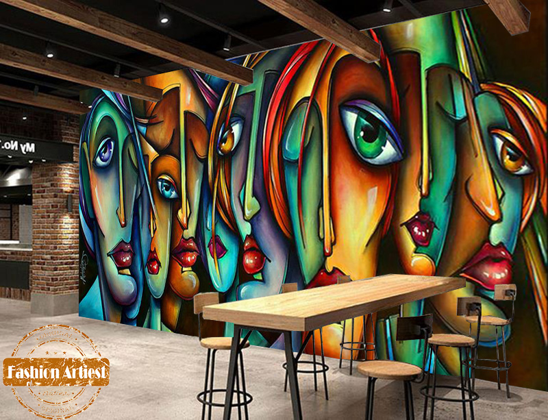 Us 20 99 Custom Abstract Picasso Wallpaper Mural Color Portrait Face Red Lip Men Women Oil Painting Tv Sofa Bedroom Living Room Cafe Bar In