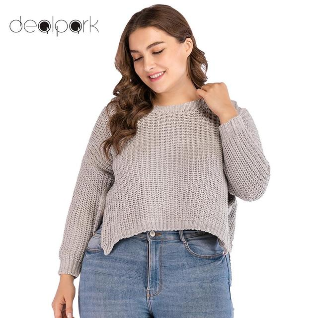 cf1537480 Women sweater christmas Pullover Plus Size Cropped Knitted Sweater Low High  Irregular Hem Long Sleeve Ribbed Loose Casual Tops