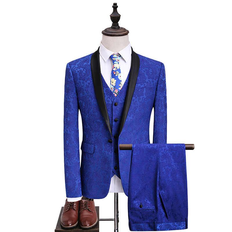 高品質 2019 秋と春の新男性の大サイズのスーツ男性スーツ青色ジャカードスリーピース宴会ホスト新郎ドレス