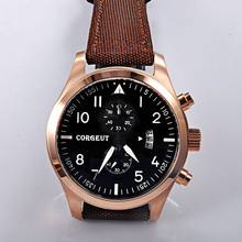 Corgeut new quality hot sell PVD case mixed strap of the cloth and leather Full Chronograph Men quartz watches