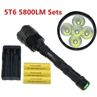 Trustfire 5T6 5800 Lumen Tactical Led Flashlight 5x Cree XM L T6 Led Camp Working Lamp Torch 5 Modes + 3x18650 Battery + Charger
