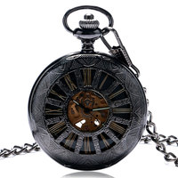 Vintage Black Classic Watches Black Stainless Steel Skeleton Dial Mens Hand Winding Mechanical Pocket Watch