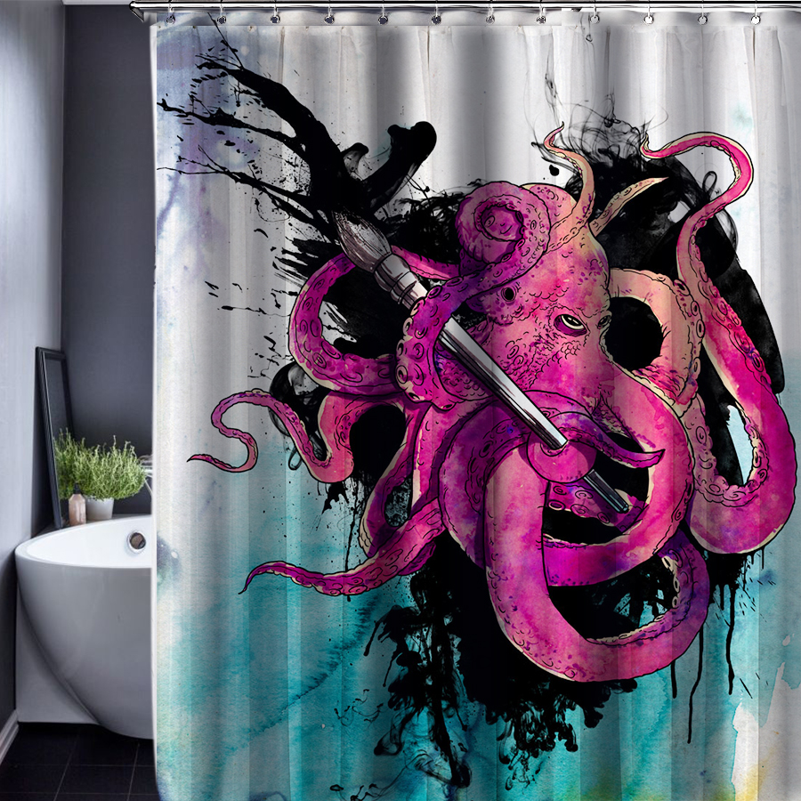 octopus pattern polyester customized shower curtain bathroom accessories waterproof bathroom fabric polyester shower