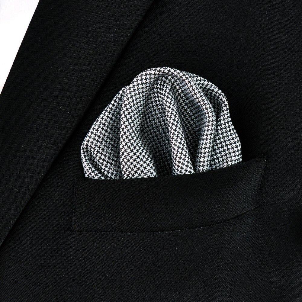 930e1d17eb Houndstooth Lenço de Seda Preto Branco Dos Homens Tecido Jacquard Lenço de  Bolso Praça Da Moda Casual Vestido em Laços dos homens do laço & Lenços de  ...