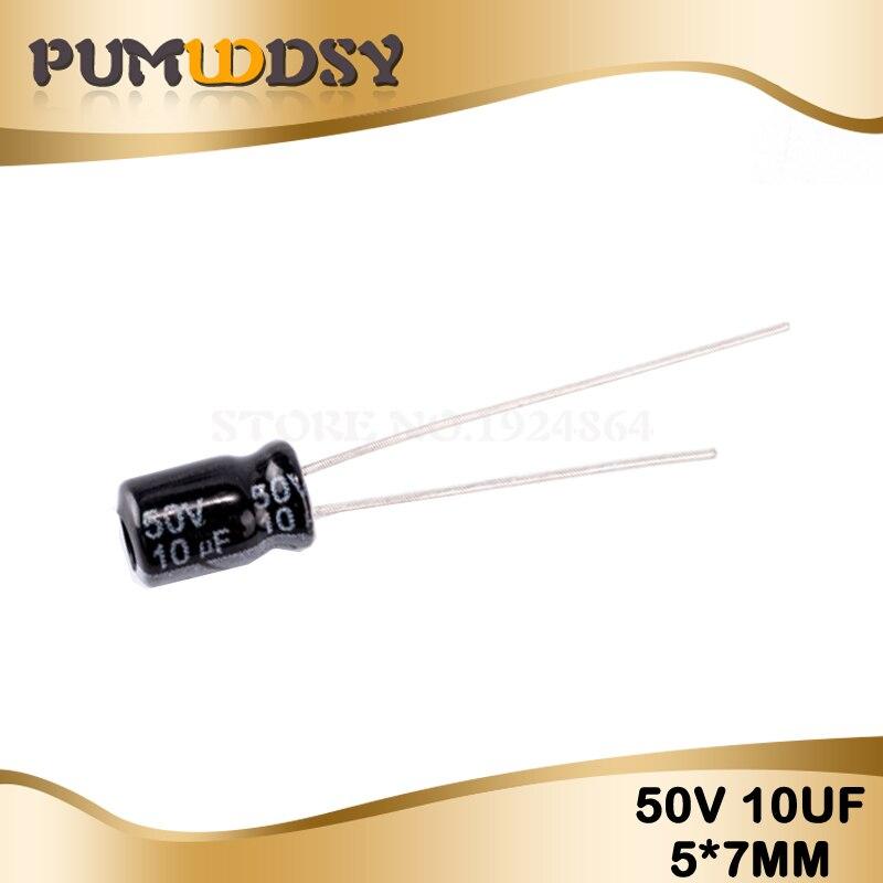 50PCS Higt Quality 50V10UF 5*7mm 10UF 50V 5*7 Electrolytic Capacitor