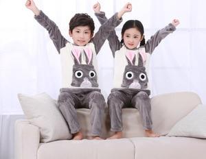 Image 2 - 4 15Y Cartoon Jongen Meisjes Pyjama Sets Pluche Warm Peuter Meisje Nachtkleding Kleding Baby Broek Kids Nachtjapon Kleding Homewear HONG01