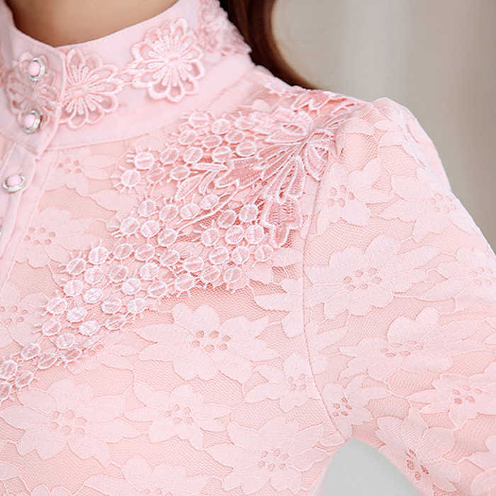 Женская зимняя футболка, кружевная блузка с длинным рукавом, теплая блузка с высоким воротником, женская блузка, женская одежда, женская блузка