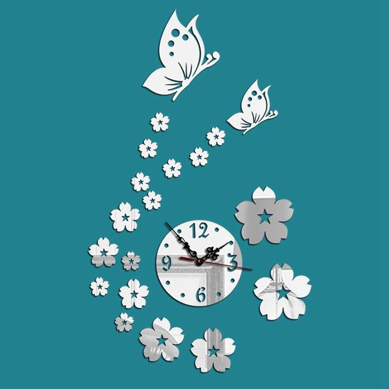 32X56CM Acrylic Wall Clock Butterfly Girl Wall Sticker Watch Mural Clock Modern Design Picture Clock Fairy Butterfly Mirror D