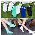 5 pairs = 10 PCS meias meias listradas das Mulheres Harajuku duas barras de primavera e verão meias de algodão