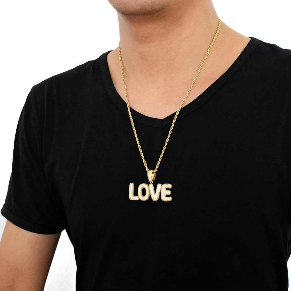 A-Z niestandardowe nazwa małe Bubble litery naszyjniki i wisiorek urok męska cyrkon Hip Hop biżuteria z 4 MM złoty srebrny łańcuch tenisowy