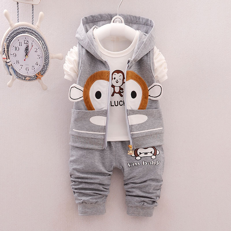 Baby Boys Vest Waistcoat Kids Sport Suit Winter Infant Jacket + T Shirt Pants Cute Monkey Toddler Girls Clothing Set - Kid Costume Store store