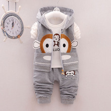 Baby Boys Vest Waistcoat three Pcs Kids Sport Suit Winter Infant Jacket + T Shirt + Pants Cute Monkey Toddler Girls Clothing Set