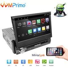 "AMPrime 1Din Android 7 ""Car Multimedia Quad Core 6.0 Touch Car Styling Autoradio GPS Wifi BT USB FM Videocamera vista posteriore stero Audio"
