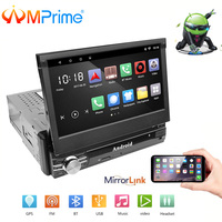 AMPrime 1Din Android 7 Car Multimedia Quad Core 6.0 Touch Car Styling Autoradio GPS Wifi BT USB FM Rear View Camera Stero Audio