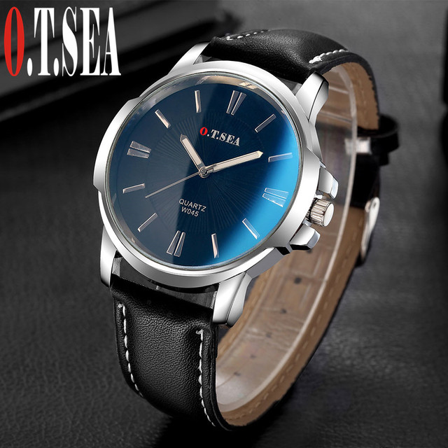 Hot Sales O.T.SEA Brand Faux Leather Blue Ray Glass Watch Men Military Sports Qu