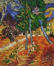 Trees in the Garden of St. Paul Hospital by Vincent Van Gogh Handpainted