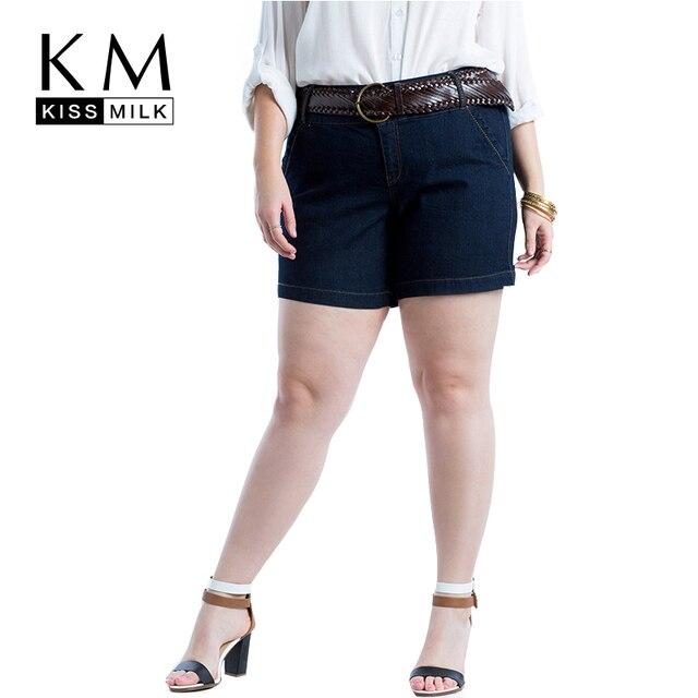 Kissmilk Плюс Размер Новая Мода Женщины Темно-Синий Большой Размер повседневная Джинсовый Стиль Сексуальные Горячие Шорты Тонкий Шорты 3XL, 4XL 5XL 6XL