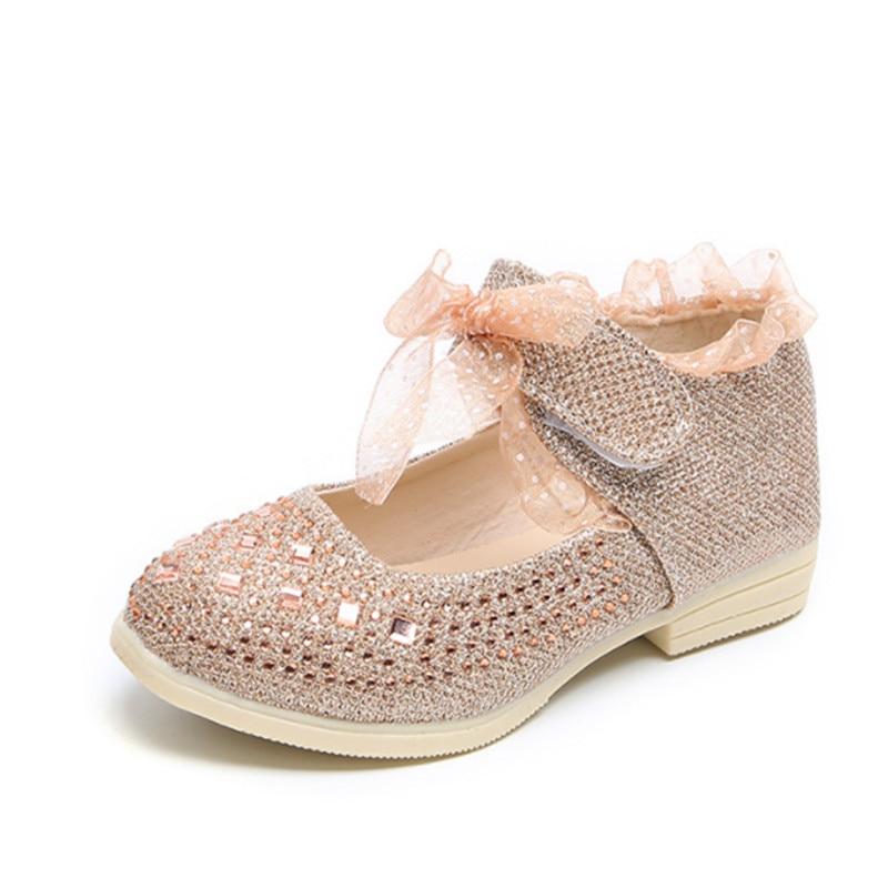 Fashion Kids Girls Shoes Bling Rhinestone PU Leather Toddle Baby Girls Shoes Children Princess Dance Shoe Size 21-30
