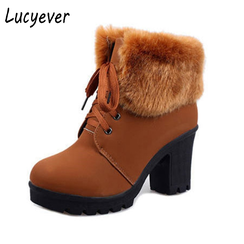 Lucyevr Women Ankle Boots Faux Fur PU Leather Lace up Thick High Heels Motorcycle Boots Fashion Platform Fur Inside Winter Shoes women genuine leather boots rabbit fur lace high heels ankle motorcycle boots women fringe shoes winter shoes