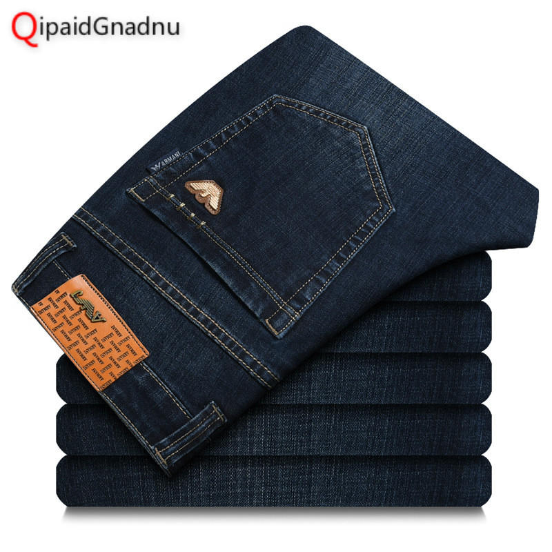 2019 Four Seasons New Style Men's Casual High Quality Trousers Elastic Men   Jeans   Fashion Classic Denim Big Size 29-42   Jeans   Men