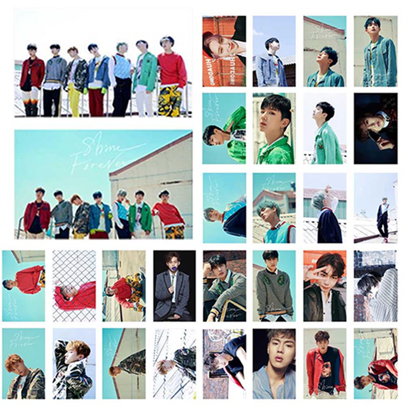 30Pcs Set font b KPOP b font MONSTA X Album SHINE FOREVER Self Made Paper Lomo