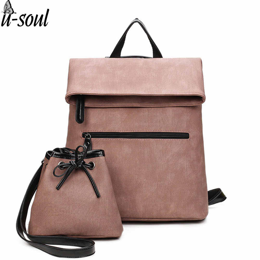 f78d57ecfae8 new 2 pcs backpacks female pu leather backpack famous brand preppy style  string women school bag