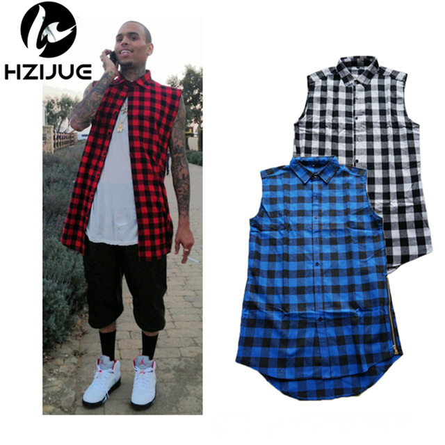 ec252f2ad Hip hop clothing tyga mens fashion camisa masculina swag plaid shirts  sleeveless side gold zipper man