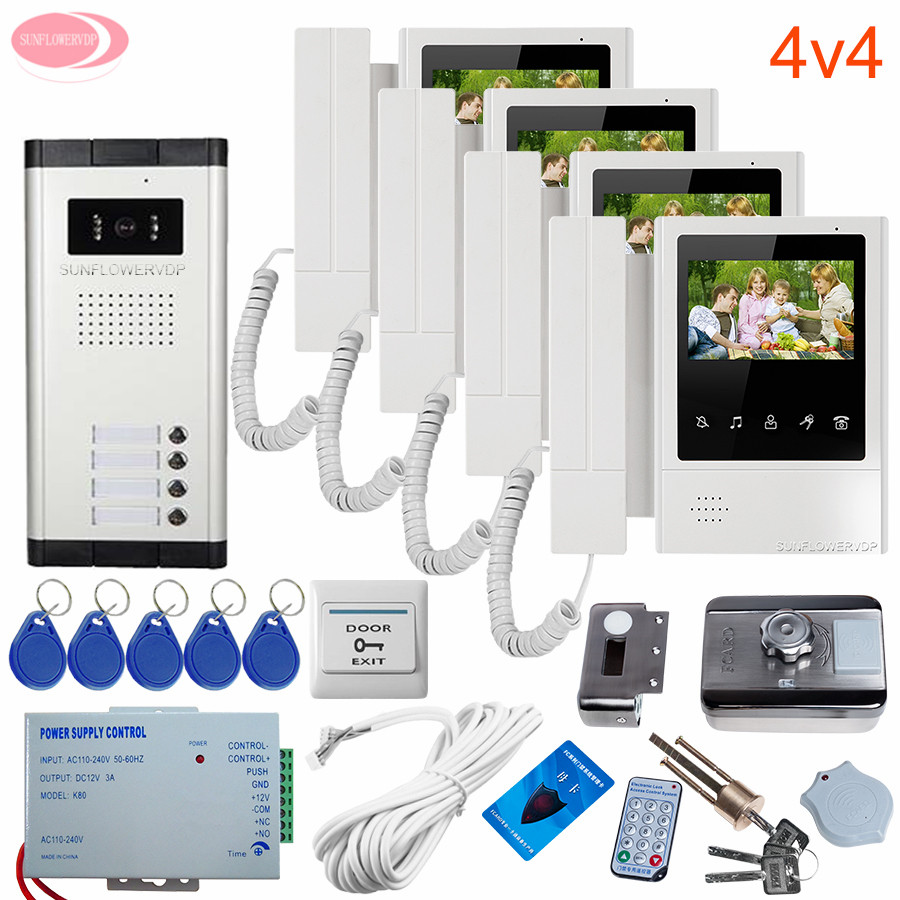 4 Apartments Color Video Door Phone Doorbell 4.3 '' Video Intercom For Private House Night Vision + Rfid Unlock Electronic Lock