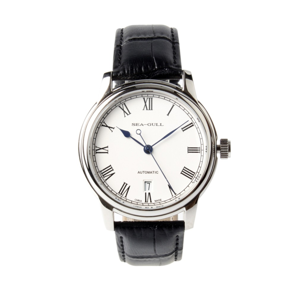 Sea Gull Roman Numerals Blue Hands Exhibition Back Black Leather Strap Automatic Men s Watch Self