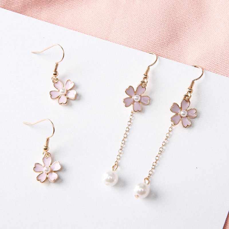 Romantic Sweet Simple Simulated Pearl Pink Cherry Flower Blossom Long Chain Drop Earrings for Women Girls Wedding Bridal Jewelry