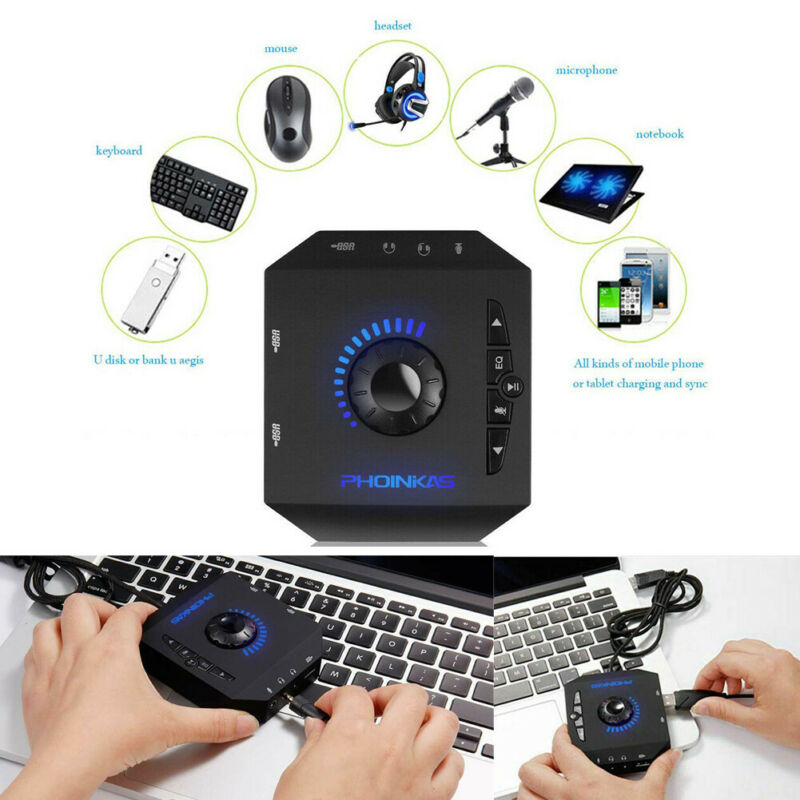 S2 USB 2.0 Sound Card HUB Stereo Headphones Mic Adapter 3D Surround Sound External Audio Converter For PC Laptops