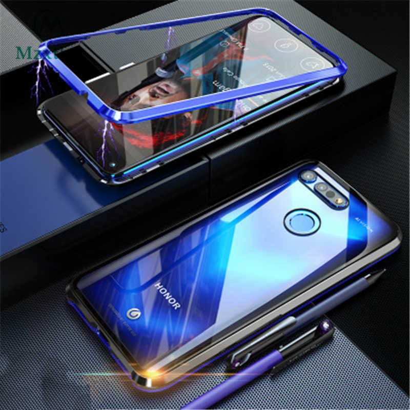 Mzxtby Front Glass+Back Glass Metal Magnetic Case Tempered Glass Magnet Cases Cover For Huawei PsmartZ Y9 Honor 10 20 Nova 3 4 5