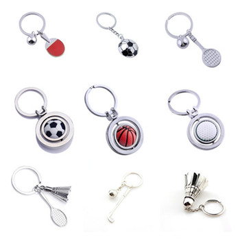 1 Pcs 3D Rotary Rubber Golf Ball Metal Keychain Football/Pingpong/Tennis/Badminton/Basketball/Bowling Keychain Sport keyring image