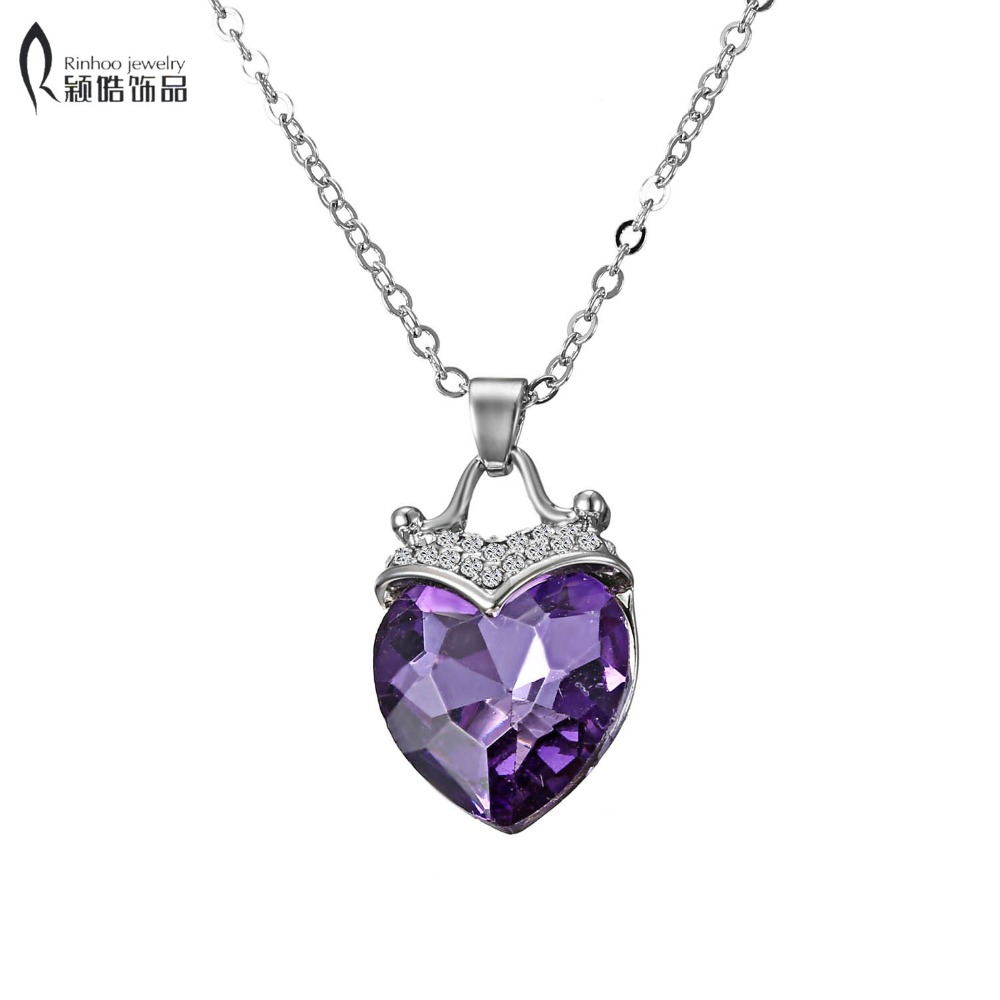 Eternal heart Purple Heart Necklace Small crystal Cristal Heart Shaped Pendant Female Si ...