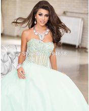 Mode-Design 2016 Herzförmiger ausschnitt Kristall Prom Kleider A-line Lange Abendkleider Party Kleider Durchsichtig Organza Pegant Kleider